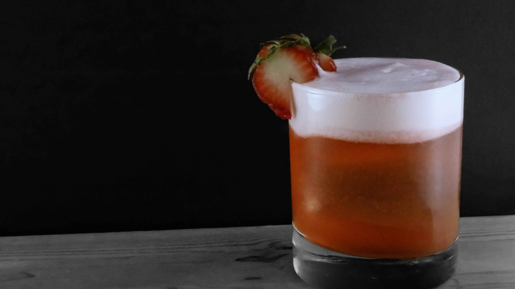 White Rum Strawberry Sour Cocktail